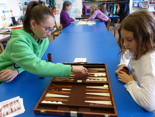 Girls Playing backgammon
