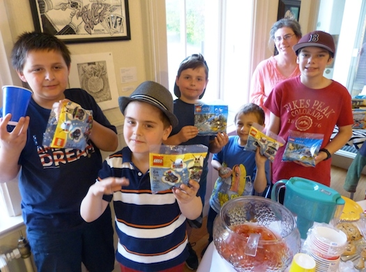 boys with their lego projects